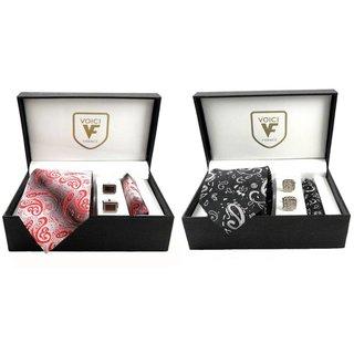 VOICI France Red Tie, Cufflinks Handkerchief Men's Necktie  Pocket Square Set