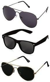 David Martin UV Protected Unisex Black Aviator and Wayfarer Sunglasses Combo of 3
