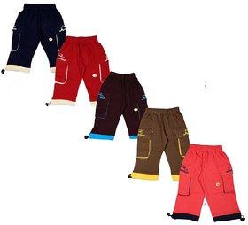 Kavin's Stylish Cotton Bermuda for Kids,Pack of 5, Multicolored-Junior Bermuda