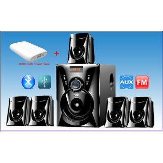 Combo of Ikall Tanyo 5.1 Bluetooth Speaker System with 8000mAh Power Bank