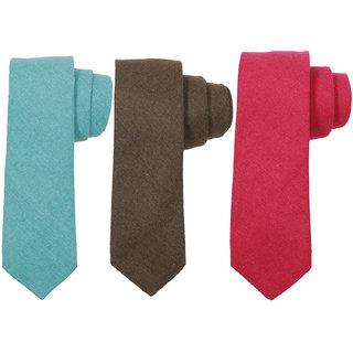 69th Avenue Men's Multicolour Cotton Plain Neckties (Pack of 3)