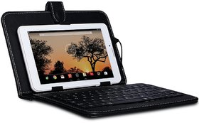 I KALL Wired Keyboard Case for All 7 inch Tablet, Inbuilt Keyboard Stand case And Micro Usb Cable  Black