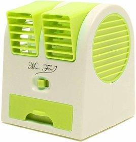 Mini Small Cooling Portable Desktop Dual Bladeless Air Cooler USB (Multicolor)