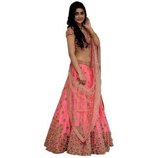 Vkaran Pink Silk Embroidered Lehenga Choli