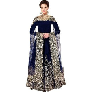 V-Karan Women's Navy Embroidered Semi Stitched Art Silk Party Gown