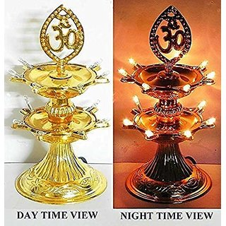 HFK 2 Layer New Electric Gold LED Bulb Lights Diya/Deep/Deepak for Pooja/Puja/Mandir Diwali Festival Decoration