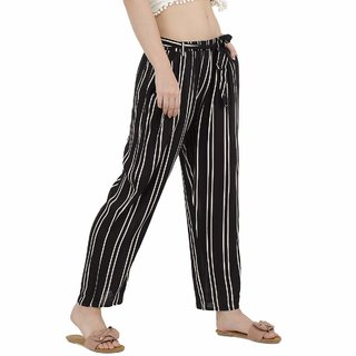 Women High Waisted Black  White Striped Palazzo Trouser Pants for Formal/Casual wear (Upto 2'' Waist Size)