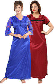 Be You Blue-Red Satin Solid Women Night Gowns Combo Pack of 2 - Free Size