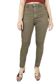 Malachi Women's Olive Denim Lycra Blend High Rise Skinny Jeans With Stretch