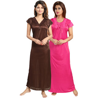 Be You Pink-Brown Satin Solid Women Night Gowns Combo Pack of 2 - Free Size