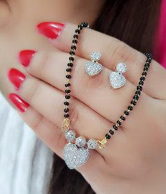 Bhagya Lakshmi Women's pride AD Stone Heart Look Mangalsutra With Earrings For Women