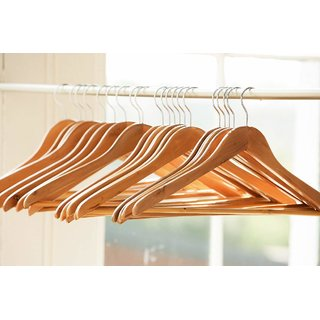 Ivaan 12 PCS 17 Wooden Cloth Hangers