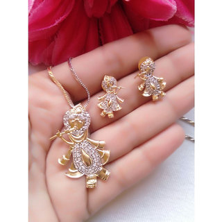 Bhagya Lakshmi Women's Pride AD Stone Krishna Ji Pendent With Earrings For Women