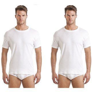 (PACK OF 2) Men's Comfort Pure Cotton Half Sleeve Daily Wear White RNS Undershirt Vest - WHITE