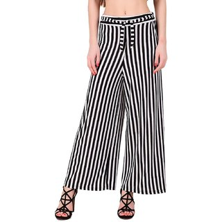 High Waisted Black  White Striped Palazzo Trouser Pants for Formal/Casual wear (Upto 32'' Waist Size)