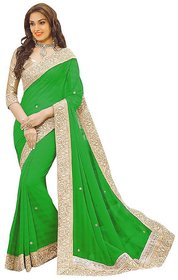 B Bella Creation Green Georgette,Jacquard Lace Saree With Blouse