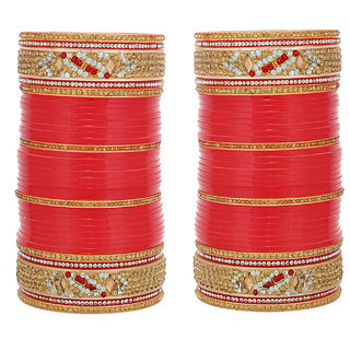 Lucky Jewellery Red Designer Chura Bridal Wedding Punjabi Choora Fashion Jewellery Chuda Set (561-G1C1-JM251-R)
