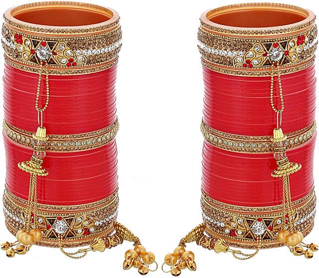 Buy Lucky Jewellery Red Designer Chura Bridal Wedding Punjabi Choora  Fashion Jewellery Chuda Set (839-M1C1-746-R) Online - Get 85% Off