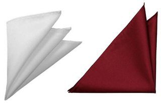 Voici France Maroon and White satin Solid Pocket Square Combo Pack of 2