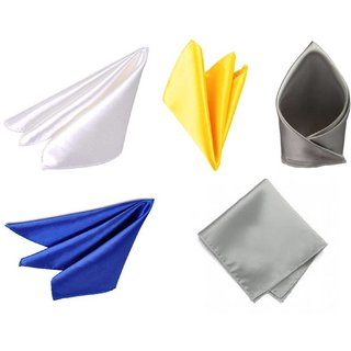 Voici France Royal Blue, White, Yellow, Silver and Light Grey satin Solid Pocket Square Combo Pack of 5
