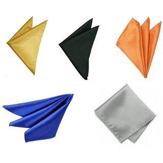 Voici France Royal Blue, Light Grey, Dark Grey, Orange and Gold satin Solid Pocket Square Combo Pack of 5