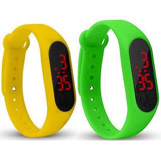Varni Retail New Led Yellow  Green Digital Watch M2 LED - For Boys  Girls
