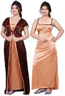 Women's Satin Nighty With Robe