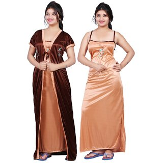 Women's Satin Nighty With Robe