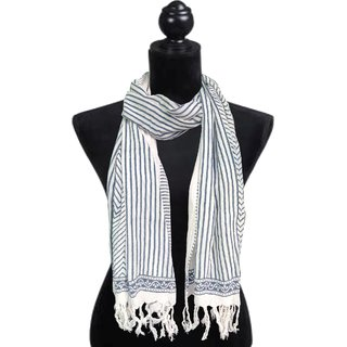 Cotton Printed Stole Blue Strips 604