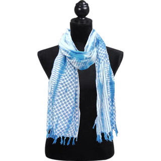 Cotton Blue Polka Dot Printed Stole 599