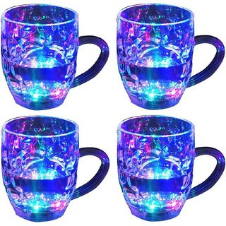 De-Ultimate (Pack oF 4) Beer Mug/Cup With Magic Inductive Rainbow Color 7 Led Flashing/Changing Liquid Activated Lights