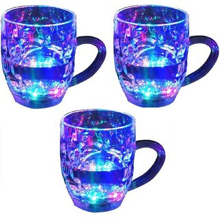 De-Ultimate (Pack oF 3) Beer Mug/Cup With Magic Inductive Rainbow Color 7 Led Flashing/Changing Liquid Activated Lights