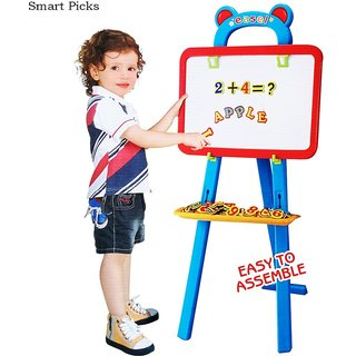 3 in 1 Educational Learning Easel Magnetic White Chalk Board, Multi Color (84 Pieces)