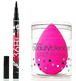 Beauty blender with sketch pen eyeliner