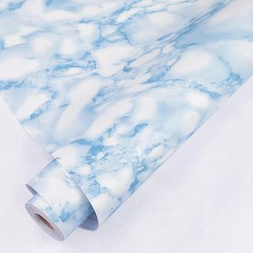 Jaasmo Royals Self-Adhesive White/blue Marble Contact Paper Removable Wall Contact Paper Decor Decals Decoration Textured Panel Table Drawer Shelf Wall Crafts drawer contact paper wall paper decorations (100 X 45 CM i.e 4.5 Sq FT )