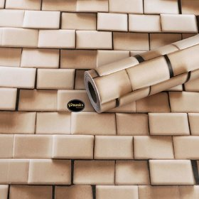 Pack of 1 Jaamso Royals Brick Stone Peel and Stick Wallpaper  (100 X 45 CM i.e 4.5 Sq FT)