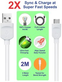 Pinnaclz 6 Feet Lightening Fast Charge Micro USB Data Cable 2 Amp for Smartphones (White)