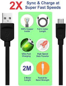 Pinnaclz 6 Feet Lightening Fast Charge Micro USB Data Cable 2 Amp for Smartphones (Black)