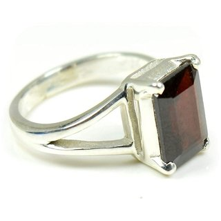 CEYLONMINE- Natural Hessonite/Gomed Silver Plated Ring Original & Lab Tested Stone Garnet Ring For Astrological Purpose