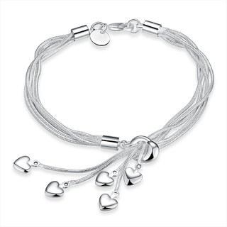 Mahi Heart Charm Rhodium Plated Bracelet For Women Girls Br1100366r
