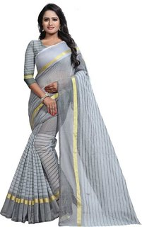 Meia Chanderi Cotton (COLORS AVAILABLE) Block Print Saree With Blouse