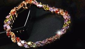 Misstyle  Crystal Multi Colour Gold Plated Adjustable Bracelet for Women
