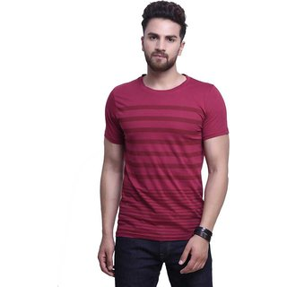 Axxitude Maroon Printed Cotton Round Neck Casual T-Shirt For Men