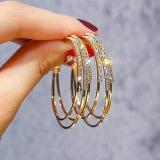 Misstyle Multilayer Round Gold Hoop Earrings