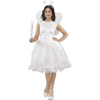 Girls Frocks Angel Pari Christmas Gown Hairband Magic Stick Kids Fancy Dress
