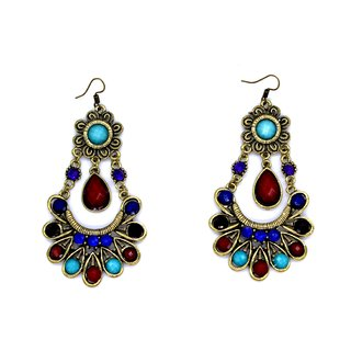 Shopiral Bohemian Multicolor Metal Drop Earrings For Women (Multi Color)