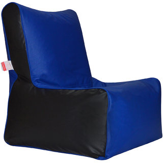 ComfyBean - Clemenzo - Bean Chair - Size Kids - Filled With Beans Filler Black Blue