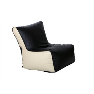 ComfyBean - Clemenzo - Bean Chair - Size Kids - Filled With Beans Filler Black Cream