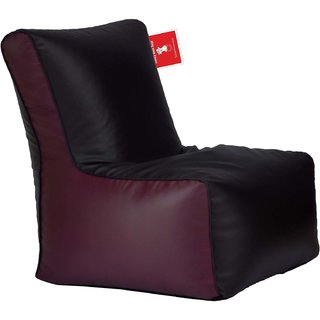ComfyBean - Clemenzo - Bean Chair - Size Kids - Filled With Beans Filler Black Maroon