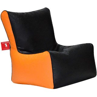 ComfyBean - Clemenzo - Bean Chair - Size Kids - Filled With Beans Filler Black Orange